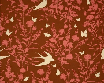 SALE Joel Dewberry Fabric - Bungalow Swallow Study in Chestnut Red Fabric by the Yard - Clearance Fabric - Floral Aviary Bird Fabric