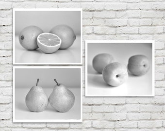 Dining room prints, kitchen wall decor black and white fruit photography kitchen art prints set of 3 grey kitchen pictures, pear lemon photo