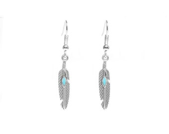 Silver/Turquoise Feather Dangle Earrings