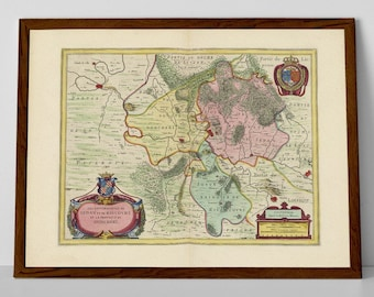 Donchery, old map of France reproduction print | Carignan, Mouzon, Sugny, Aiglemont, Balan