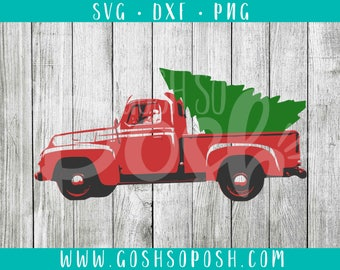 Red Truck With Christmas Tree - SVG - DXF - PNG - Christmas Cut File - Holiday - Xmas Silhouette / Cricut Files