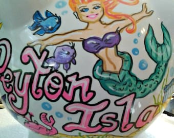 Personalized Piggy Bank - Under the Sea Fish and Mermaid