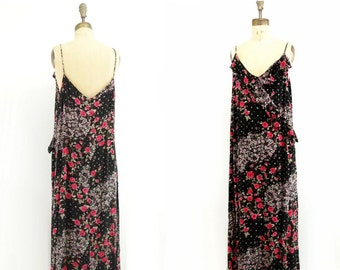 Floral Maxi Dress Vintage Maxi Dress Boho Maxi Dress Plus Size Maxi Dress Black Floral Dress 1990s 20s Style Maxi Dress L / XL to plus 20