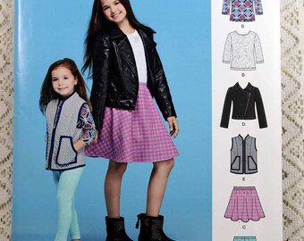 Simplicity S0194, Same as Simplicity 8027, Child's Jacket, Vest, Skirt and Knit Top and Leggings Sewing Pattern, Child's Sizes 3 to 6, Uncut