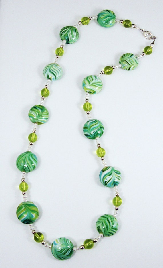 Swirl Glass and Pearl Necklace, Pearl Necklace, Green Necklace