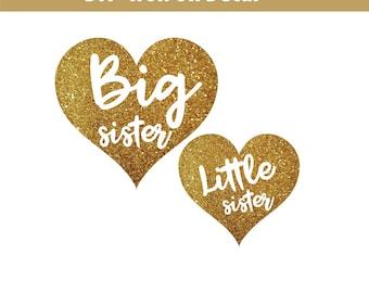 Little Sister Iron On, Big Sister Iron On, New Big Sister, New Baby, Little Sister Glitter Iron On, Shirt, Diy heat transfer vinyl decal