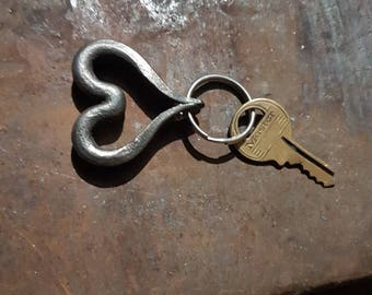 Forged Hart of steel miniature key chain