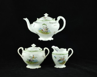 Antique George Jones & Sons Crescent China Three Piece Tea Set - Exotic Birds Motif