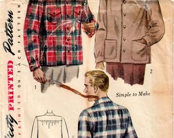 1940s Simplicity 1961 Vintage Sewing Pattern Men's Shirt, Jacket, Casual Shirt, Sport Shirt Size Small, Size Medium