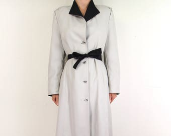 VINTAGE Trench Coat Gray Black Belted Contrast 1980s Womens Small