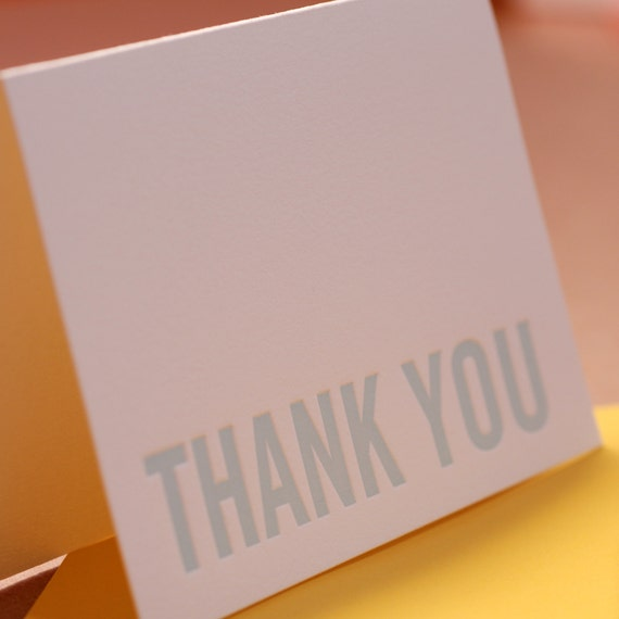 Letterpress Thank You Cards : Sky Blue Modern Block Thank You Notes - box of 75 small folded cards w envelope color choice