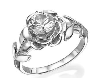 White 14K Gold, Diamond Engagement Ring, Leaves Engagement Ring, Natural Diamond, Leaf Ring, 1 CT diamond, Flower Ring, Art Nouveau, Unique