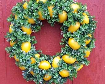 Lemon Grove Wreath......Lemon Wreath.....Boxwood Wreath.....Door Wreath