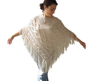 Ecru Cable Knit Poncho by Afra