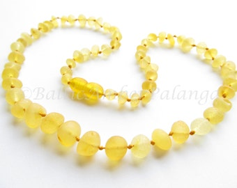 Raw Unpolished Baltic Amber Lemon Color Beads. For Adults