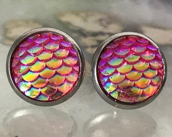Pink Mermaid Earrings |  12mm Mermaid Studs | Stainless Steel  | Dragon Scale | Fish Scale Studs | Mermaid Scale Earrings | Dragon Earring