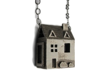 Doll House Necklace - Sterling Silver Jewelry - Pre Colonial House - inspired by dollhouses and miniatures