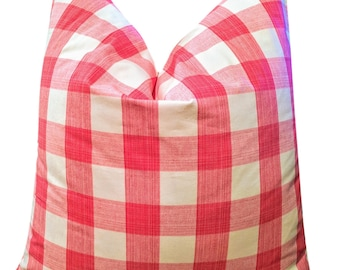 stratford buffalo check pink pillow cover // pink pillows // williamsburg fabric // buffalo check pillow // little girls room // home decor