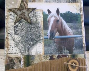 Texas collage, western decor, horse art, western art, country images, cowboy art, Texas themed art