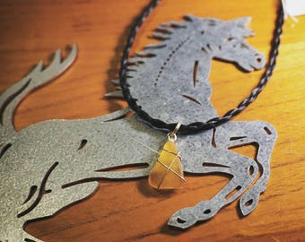 Horse Hair with Amber Maine Seaglass Neclace [16.5in]