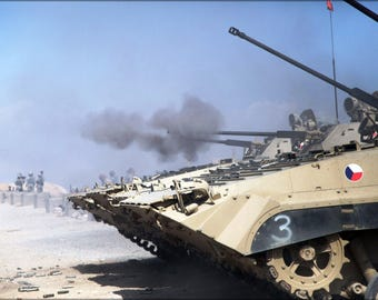 Poster, Many Sizes Available; Afghanistan Czech Bvp2 Tanks Are Firing