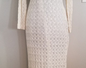 Vintage S. Roberts knit dress/ crocheted dress