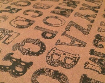 Vintage alphabet wrapping / craft paper sheets / brown typogrophy retro gift wrap