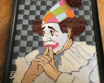 Vintage Really Unique Geometric Checkerboard Background Sad Clown Needlepoint With 3-D Hair and Ball to Hat