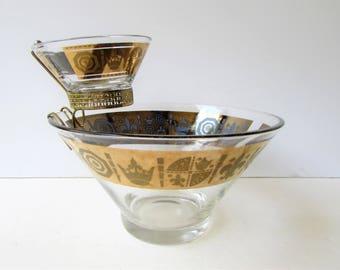 Vintage Chip and Dip - Mid Century Vito Bari Crown and Fleur de Lis Pattern - Mid Century Modern Serveware - Metallic gold - Purple -