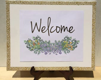 Welcome - 11x14 Floral Canvas Print