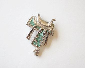 Cowboy Saddle Silver and Green Brooch