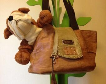 Borsa, bag for pet,gatti e cani trasportino con tracolla, vera pelle,genuine leather