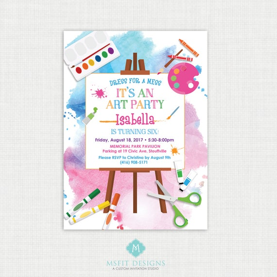 Art Party Invitation, Art Party, Art Birthday Invitation, Art Birthday Party, Paint Party Invitation, Painting Party, Printable