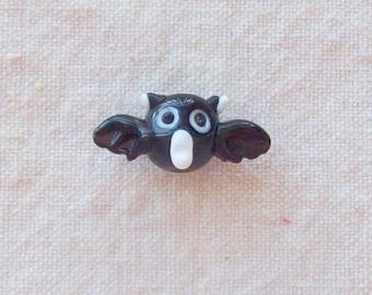 SALE - Black Glass Bat Bead - 28 x 11 mm