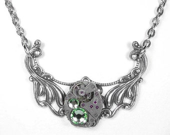 Steampunk Jewelry Necklace Vintage Watch Victorian Silver Filigree Peridot Crystals Wife Anniversary Mothers Holiday - by Steampunk Boutique