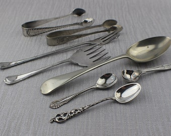 Set of 8 Assorted Silver Plated EPNS Cutlery and Tableware Mostly Spoons Sugar Teaspoons
