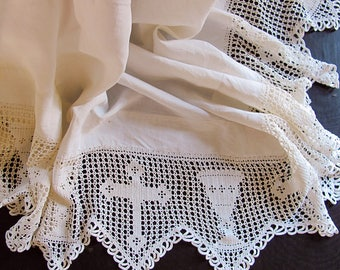 Catholic Altarcloth Crocheted Lacework Chalice Crucifix White Linen Victorian Edwardian Witchcraft Altar Cloth