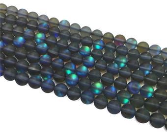 1Full Strand Matte Mystic Aura Quartz Round Beads, 8mm 10mm Aura Quartz,Holographic Quartz For Jewelry Making