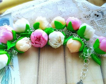 Bracelet with peony flowers from polymer clay
