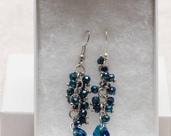 Swarovski crystal drop n blue stone dangling