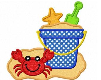 Instant Download Beach Bucket  Applique Machine Embroidery Design NO:1314
