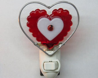 Heart Night Light - 4 Red Hearts - Fused Glass Nightlights - Triple Heart - Ruffle Heart - 4 Heart - Double Heart