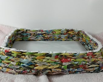 Handmade upcycled paper basket