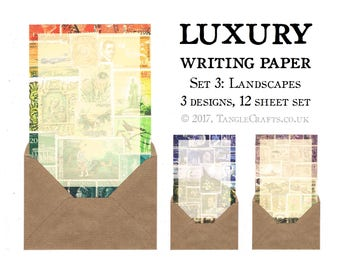 Writing Paper Letter Set | A5 Landscape Art Writing Set Gift for Penpal | World Travel History, Vintage Stamps | Mail Art Letter Writing Set