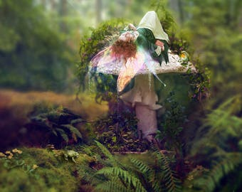 A Place to Dream, Fairy tale Art Print Magical Landscape Medieval Fairy Elf Maiden in Green Gown Red Haired Fairy Woman, Faerie on Mushroom