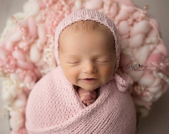 Soft as Suede Bonnet & Knit Wrap Sets - Newborn Photography Prop - Baby Boy - Baby Girl
