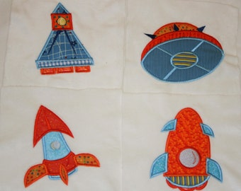 """Space Ship Appliqued Minky Quilt Squares   """" Mars and Beyond"""""""
