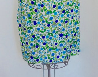 Vintage 1950s Green,Purple And Turquoise Floral Half Apron-Pinny