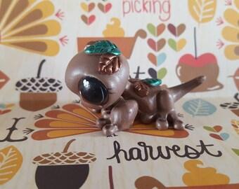 Fall Autumn Falling Leaves  Gecko Lizard OOAK Custom Littlest Pet Shop Repaint