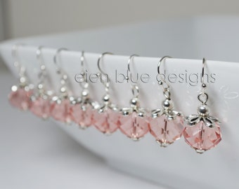 Pink Crystal Earrings, Simple Crystals Earrings, Pink Crystal Dangle Earrings, Pink Earrings, Crystal Dangle Earrings, Blush Earrings,